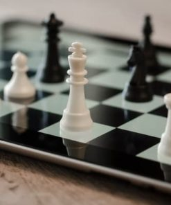 black and white chess pieces and board for online course on Luma Learn