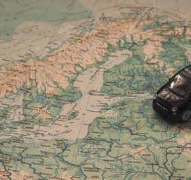toy car on map for Spanish for Mission Trips online course by Margaret Proctor on Luma Learn