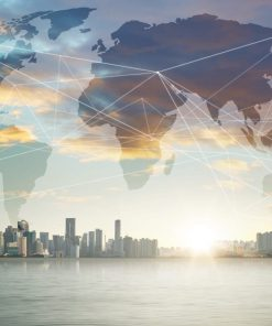 view of the city with map of the world superimposed for international business online course