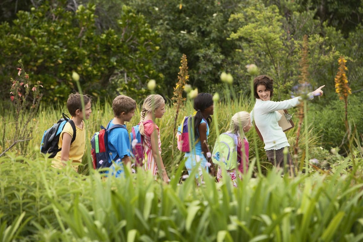 Children on Nature Field Trip who take an online course with luma learn