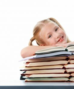 elementary age girl with a stack of books used in english online course on luma learn