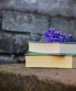 peaceful books and flowers for online course