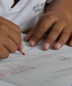 elementary math online course on Luma Learn child's hands with red pencil