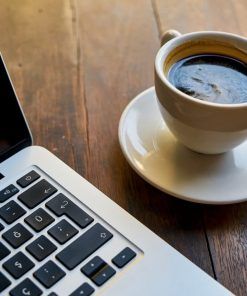Sipping coffee while taking online course on Luma Learn