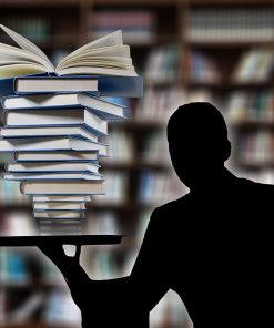 silhouette with books for online course on luma learn
