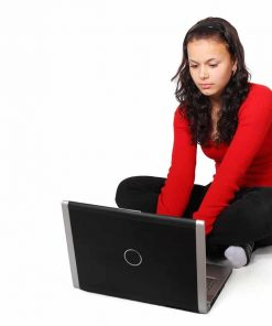 female homeschool student taking online course